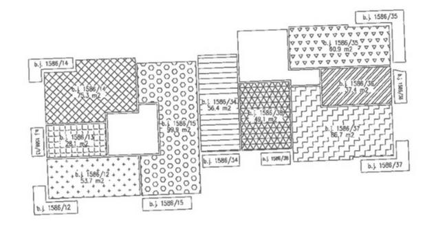 ukázka zprohlášení vlastníka - schéma podlaží bytového domu svyznačením bytových jednotek