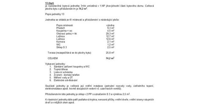 ukázka popisu bytové jednotky zprohlášení vlastníka