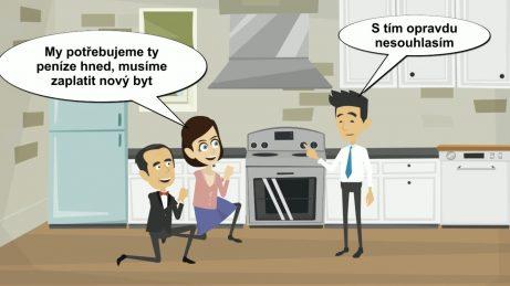 animovaný obrázek. Dva právníci klečí v kuchyni před kupujícím a prosí ho, aby jim zaplatil hned.