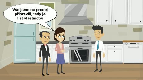 animovaný obrázek dva právníci v kuchyni svého bytu s kupujícím. Právníci říkají, že vše na prodej připravili.