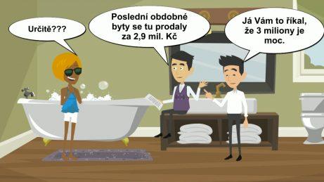 animovaný obrázek v koupelně, kde je prodávající, kupující a realitní makléř. Realitní makléř vysvětluje, že poslední obdobné byty se prodaly za nižší cenu.