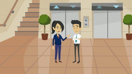 animovaný obrázek: paní a pán stojící u výtahu, kteří spolu mluví o možnosti koupi bytu