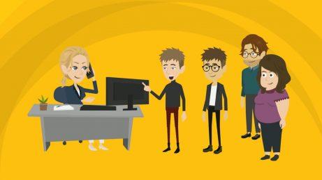 animovaný obrázek - fronta lidí v kanceláři realitního makléře, který zrovna telefonuje