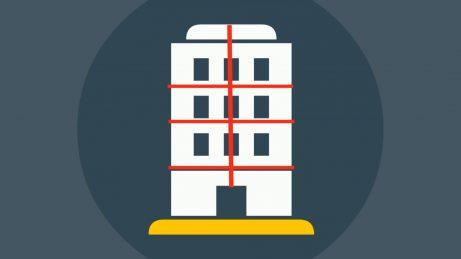 infografika s obrázkem bytového domu a jeho rozdělením na bytové jednotky