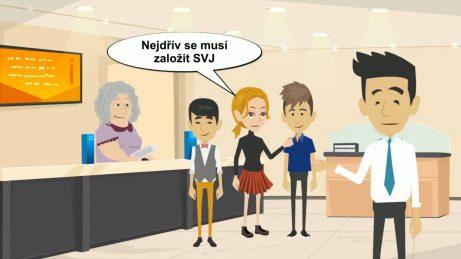 animovaný obrázek: lidi čekající nakatastru, kteří musí počkat, než se založí SVJ