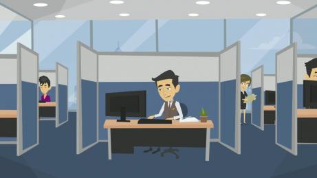 animovaný obrázek - pracovník banky v kanceláři