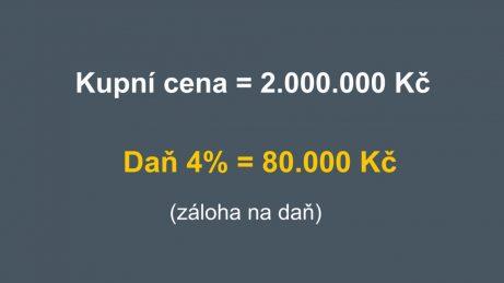 Infografika s příkladem kupní ceny 2.000.000 Kč a daně 4 % ve výši 80.000 Kč