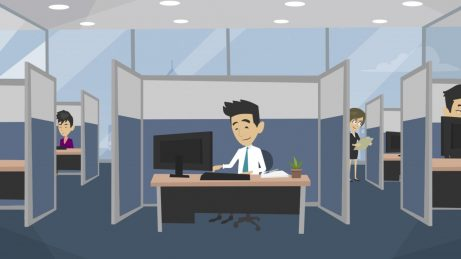 animovaný obrázek muž pracující v kanceláři u stolu