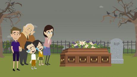 animovaný obrázek rodiny stojící u rakve