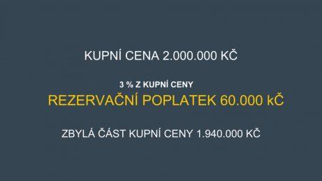 infografika - příklad kupní ceny 2.000.000 Kč a 3 % rezervačního poplatku, to znamená 60.000 Kč