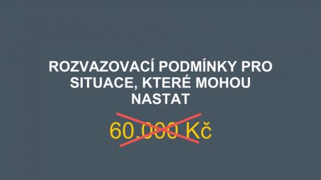 Infografika s přeškrtnutou částkou 60.000 Kč, když se sjednají rozvazovací podmínky v rezervační smlouvě