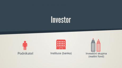 Infografika - typy investorů do bytových developerských projektů, podnikatel, instituce, investiční skupina